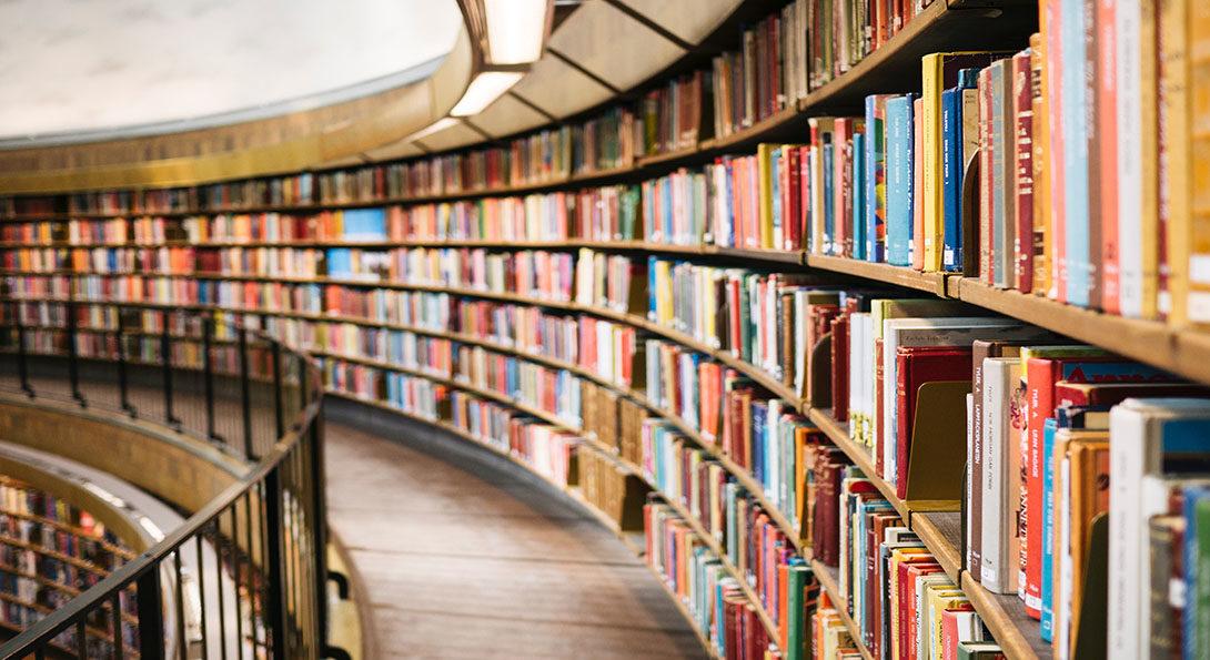 winding bookshelves
