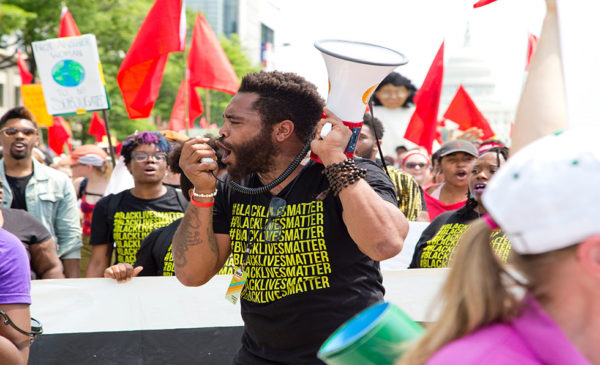 A protester with a megaphone