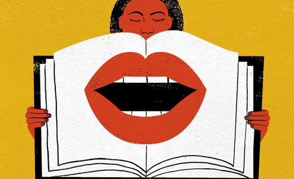 woman holding open book with mouth on the pages