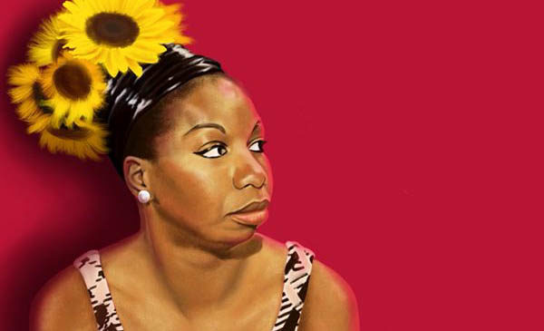 Nina Simone with sunflowers in hair in front of a red backdrop
