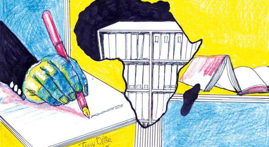sketch of hand writing in a notebook with and a bookshelf drawn into the African continent