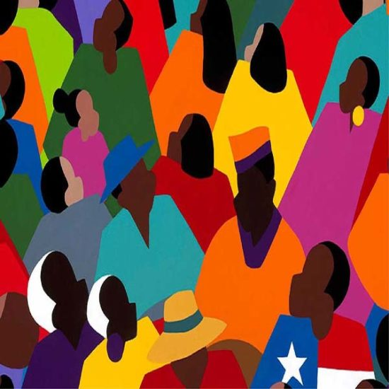painting of many people in multiple colored shirts