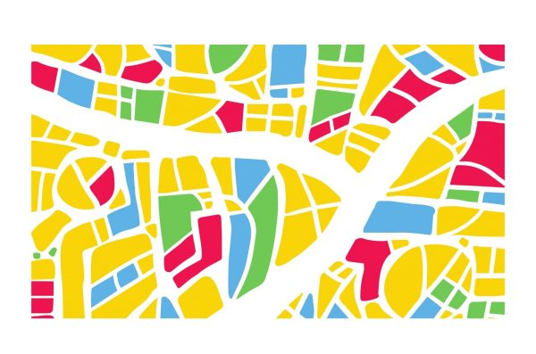 yellow, green, blue, and red geometric graphic with white lines