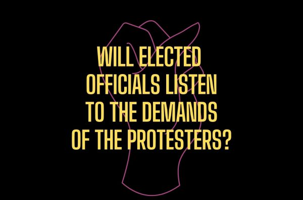 A fist up and text that reads will elected officials listen to the demands of the protesters?