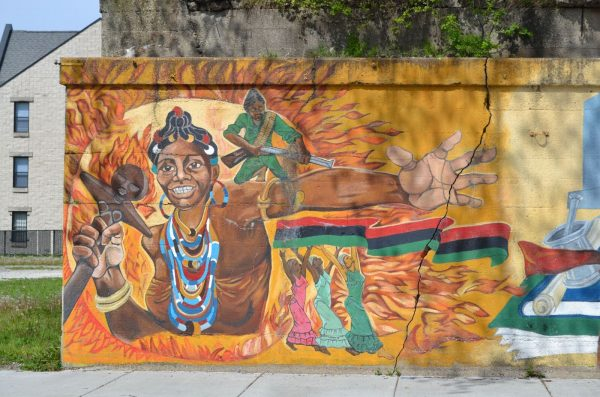 a mural of a black woman