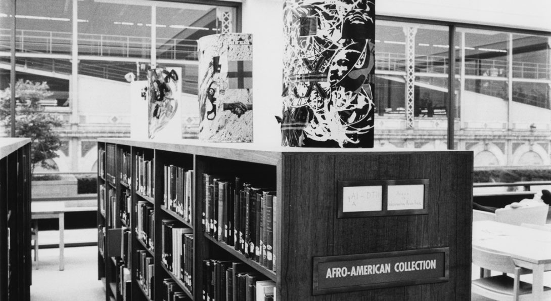 A library aisle in the Afro-American Collection