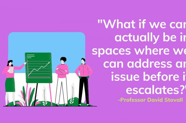 People stand before an escalated graph and the text reads: What if we can actually be in spaces where we can address an issue before it escalates?