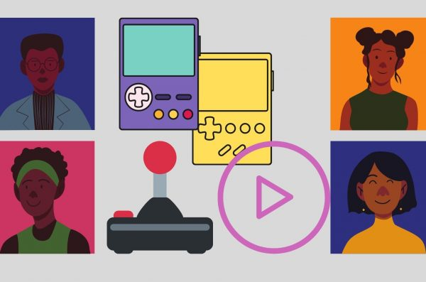 four characters border the graphic and drawings of video games are the center