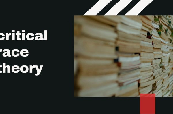 a photo of stacked books with text that reads: critical race theory
