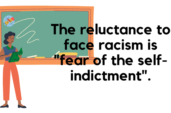 a person holding a book stands in front of a chalkboard with text that reads: The reluctance to face racism is