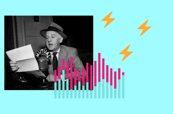 A man holds up a paper and is speaking into a microphone. Graphics of sound icons surround him