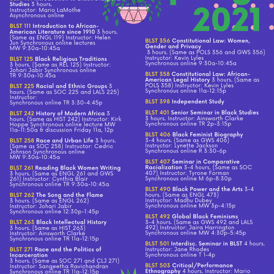 Spring 2021 Course Offerings Cover Page