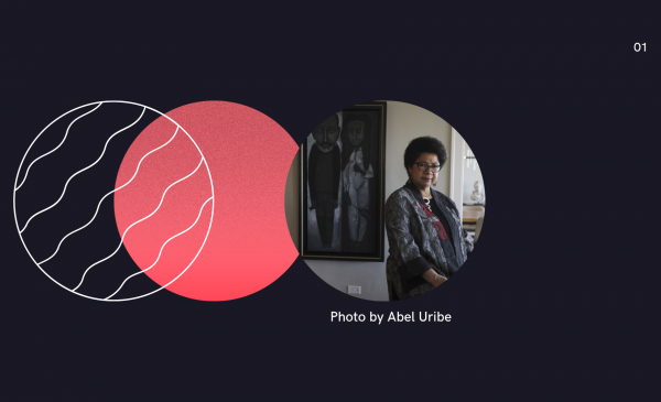 three circles: one is solid, one is lined, and the last is a photo of a person posing in front of a painting