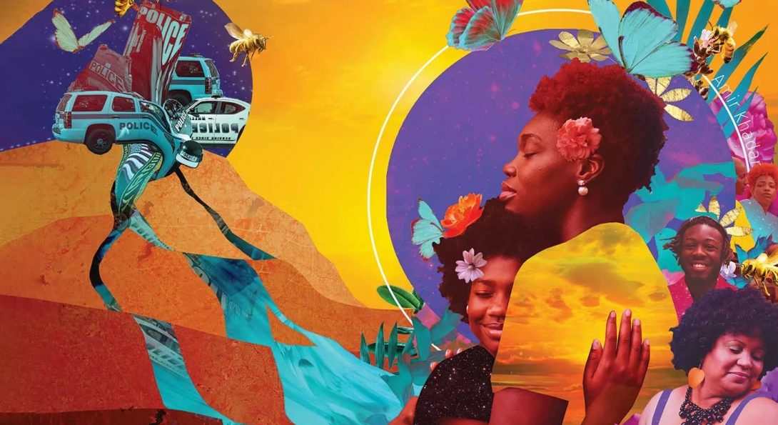 A collage of Black women embracing and joyful