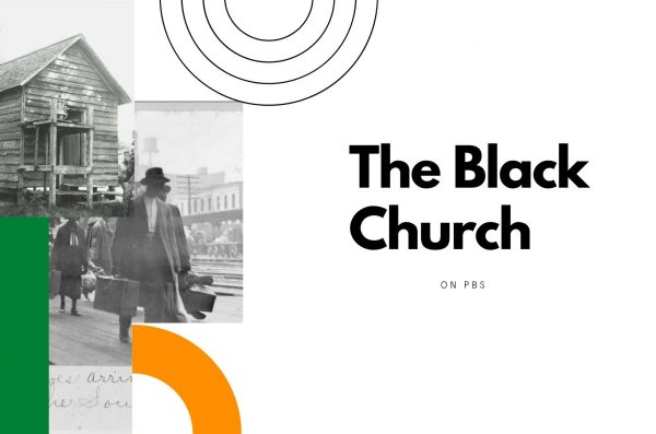 A graphic includes photos of a wooden church and a man walking and holding luggage with text that reads: The Black Church on P.B.S.