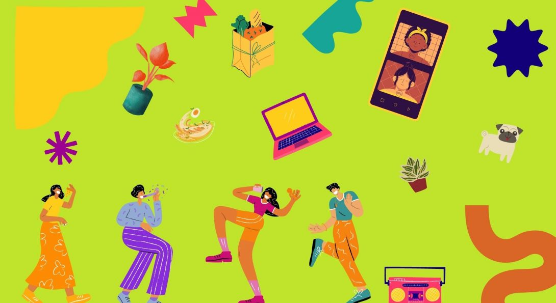 shapes, plants, a boombox, a cellphone with two people video chatting, people wearing masks dance