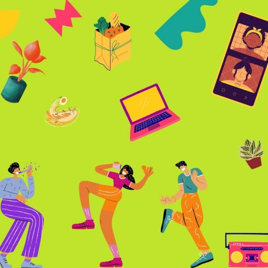 illustration of various people dance and wear masks and are surrounded by plants, screens, and shapes