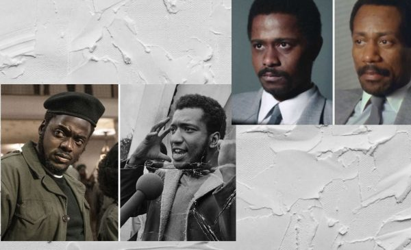 Photos of Fred Hampton and Bill O'Neal next to the actors that portrayed them